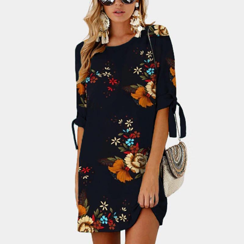 Mini Dress 2018 Print Plus Size Straight Vintage Dress Chiffon Half