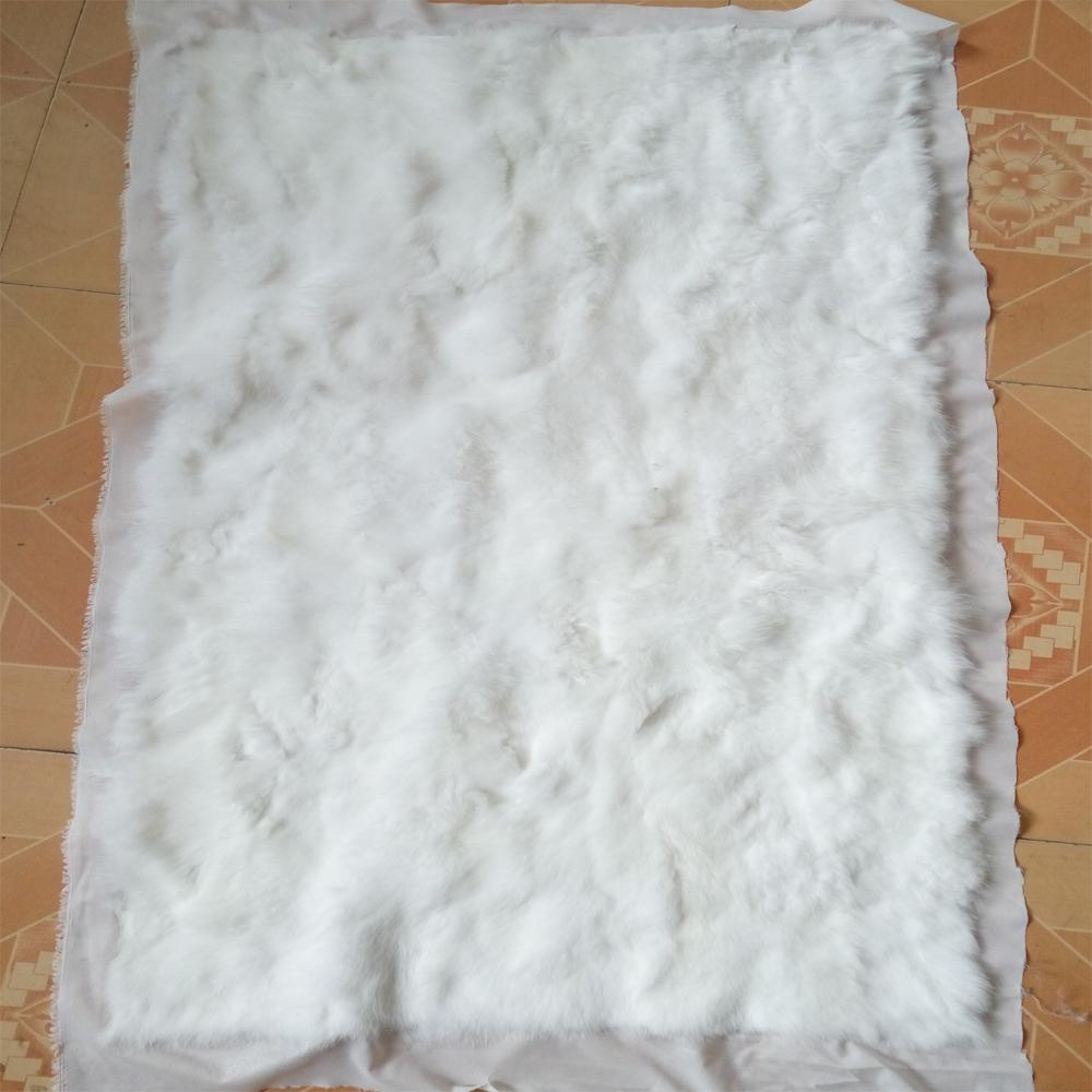 Natural White Patchwork Rabbit Fur Blanket Real Rabbit Fur Rug Plate Pelts  Decorative Blankets Rugs And 93763284d