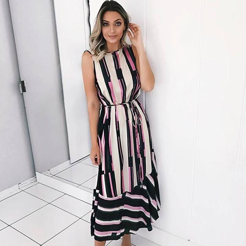 4381956ecad 2019 Women Summer Long Female Sexy Sleeveless O Neck Print Striped Dresses  Boho Beach Maxi Dress Vestidos Black Dressed Casual White Lace Dress From  Your05