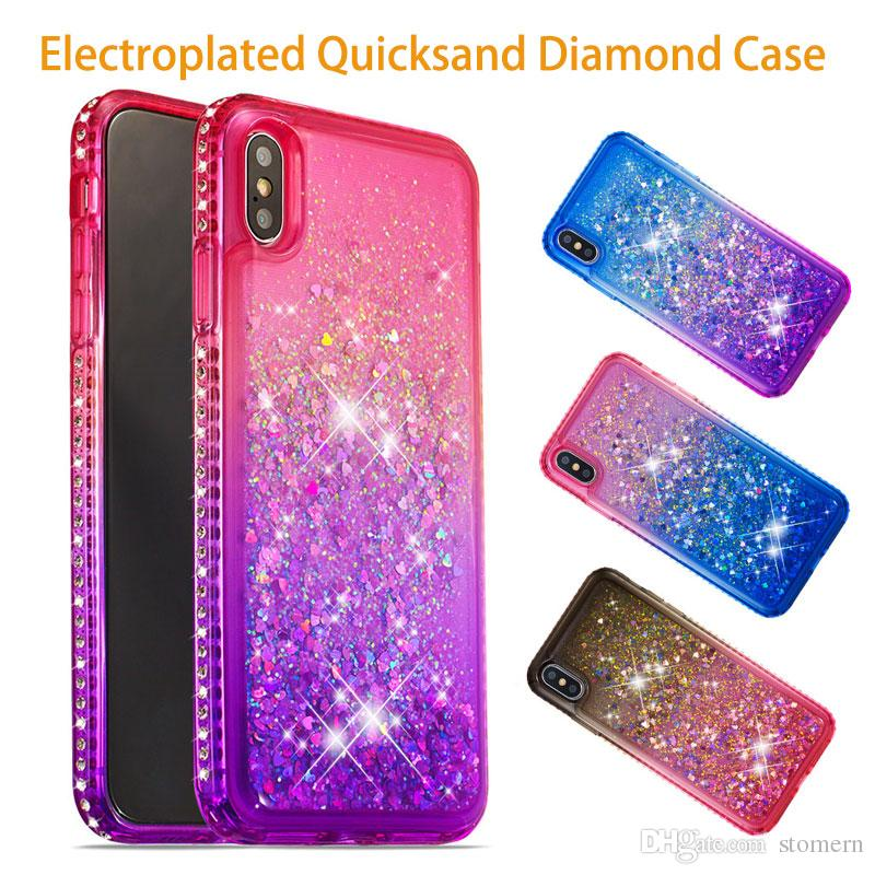 Luxury Glitter Liquid Quicksand Case For IPhone Xs Max XR X Xs 8 7 6 6S Plus  5 5S SE Floating Flowing Sparkle Shiny Bling Diamond Cute Cover Custom Cell  ... 32484ba68984