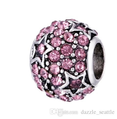 Wholesale Star paved Crystal Charm Sterling Silver European Charms Bead Big Hole Fit Pandora Bracelets Snake Chain Fashion DIY Jewelry