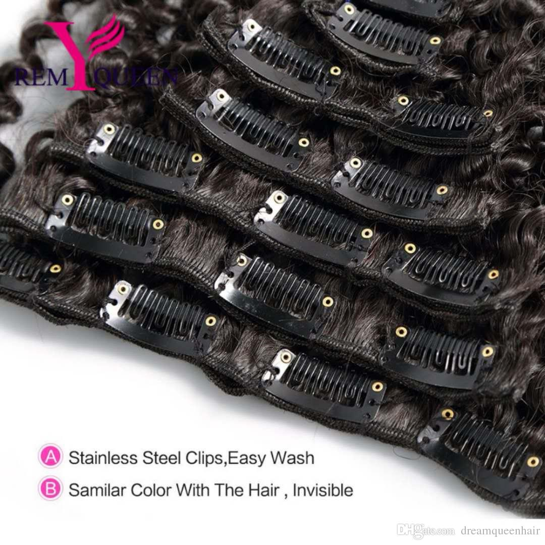 Dream Remy Queen 8A Kinky Curly Weave Remy Hair Clip In Human Hair Extensions Natural Color Full Head