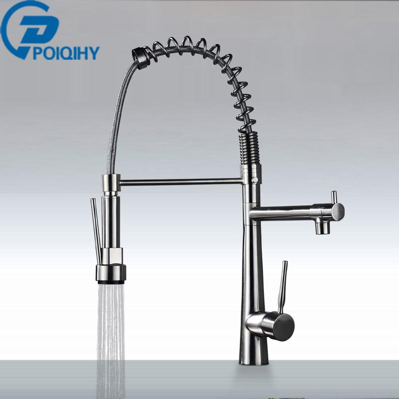 2018 Spring Kitchen Faucet Pulldown Brushed Nickel Mixer Faucet Deck  Mounted Single Handle Brass Kitchen Taps From Bright689, $95.68 | Dhgate.Com