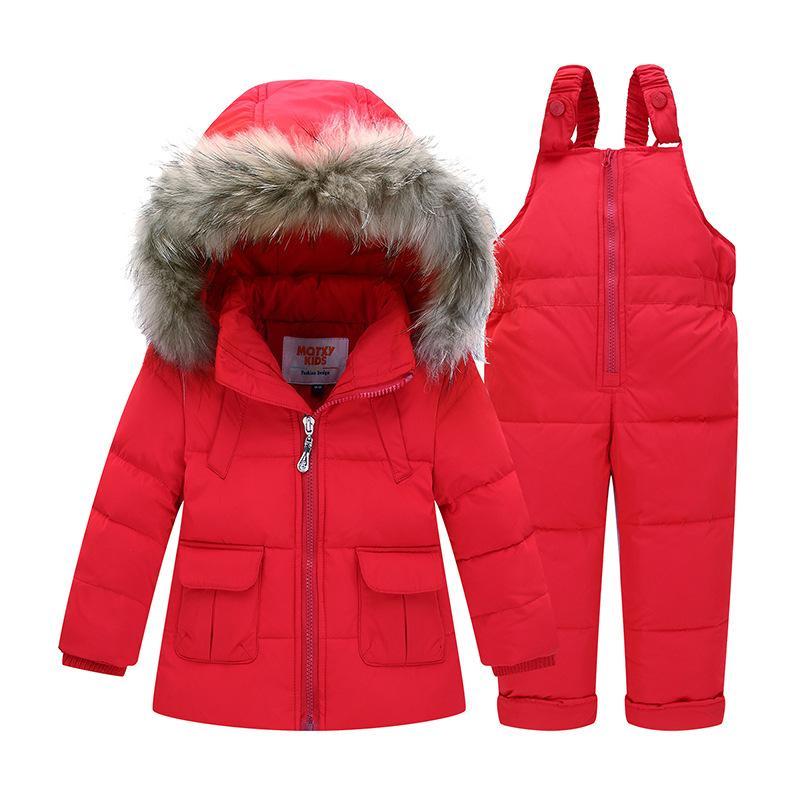 db5100b175b Enfants chauds vêtements d hiver ensemble garçons costume de ski fille  doudoune manteau + Jumpsuit Set 1-3 ans vêtements pour bébé garçon   bébé  fille