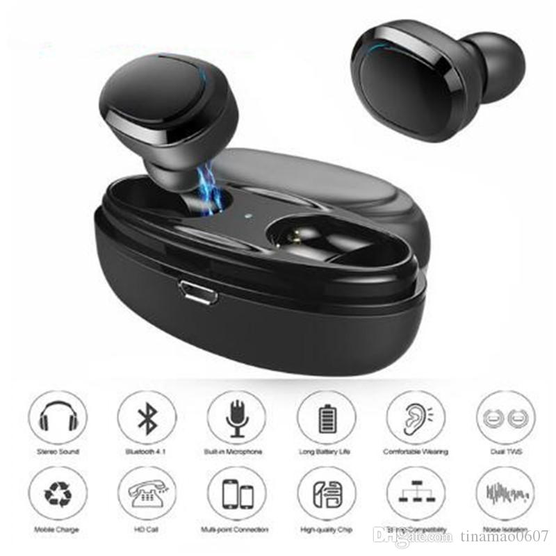 a09b8793c86cf6 T12 TWS Bluetooth Earphone Mini Twins Bluetooth V4.1 Headset Double  Wireless Earbuds Cordless Stereo Headphones With Charging Socket Case  Headset For Mobile ...