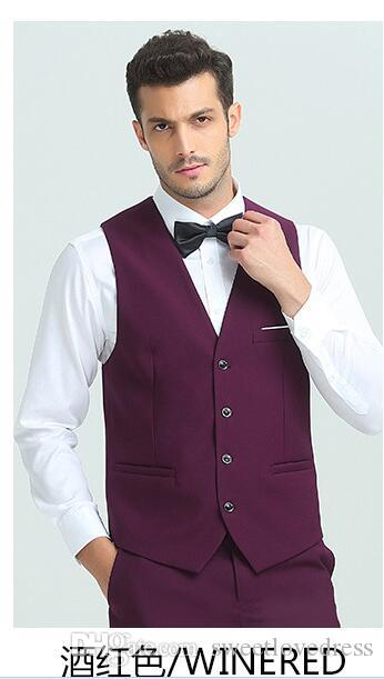 2018 Fashion Men's Business Casual Vest Slim Suit Vest Men's Business Suit Vest For Wedding Groom Vests