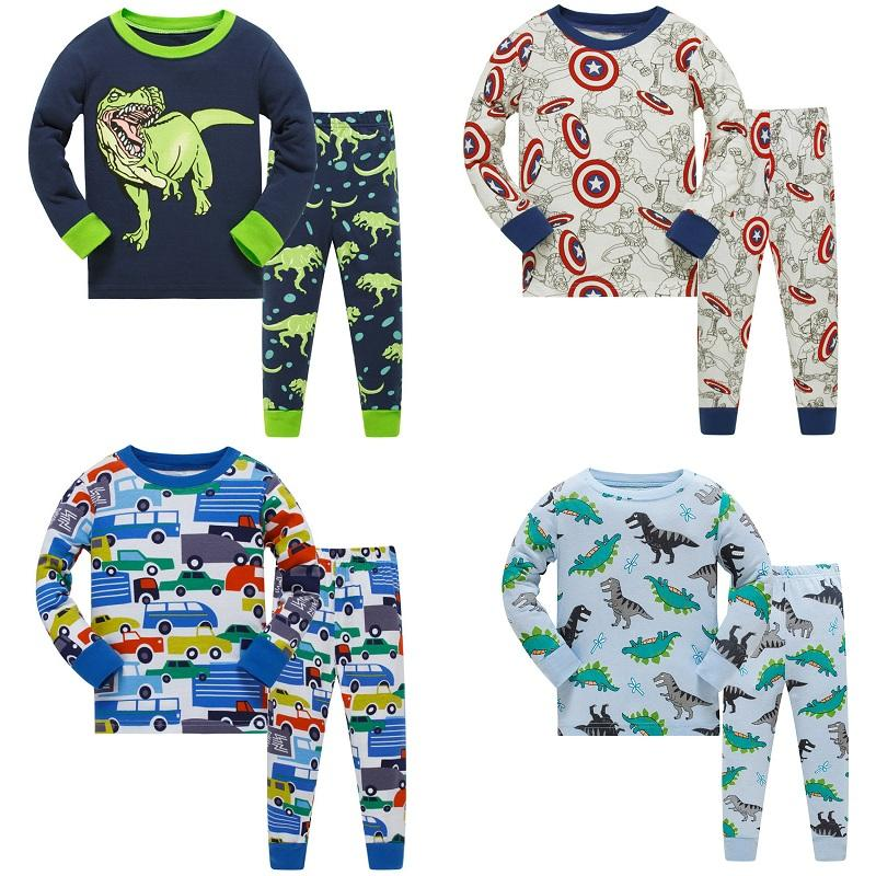 bde88372c 2018 Children Autumn Pajamas Clothing Set Boys Cartoon Dinosaur ...