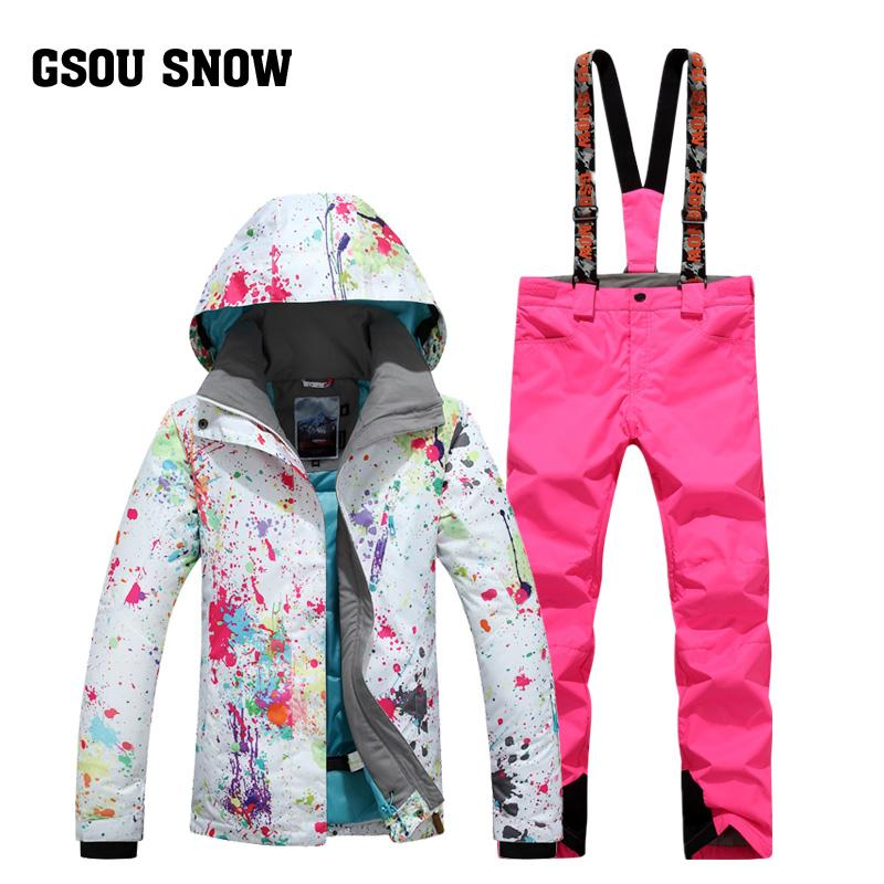 GSOU SNOW Winter Women's Ski Suit Super Waterproof Breathable Warm Ski Jacket+Pants For Female Size XS-L