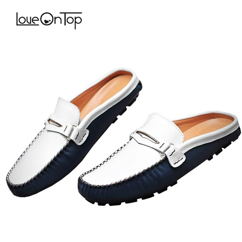 2b1fd3e5306d Loveontop New Summer Men Half Slippers Slip On Genuine Leather Mens Shoes  Soft Leather Slipper Man Driving Loafers Male Footwear Pumps Shoes White  Boots ...