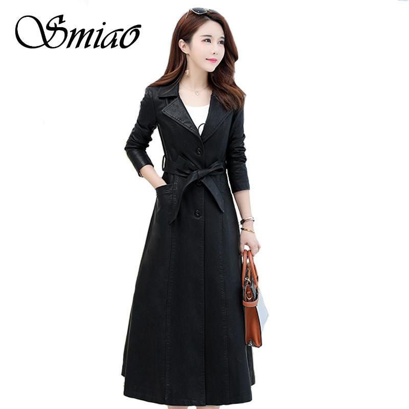 2703281ba4 2019 Smiao Winter Plus Size 4XL X Long Coat 2018 Elegant Leather Female  Women S Clothing PU Faux Outwear Female Leather Jacket M 4XL From  Qingxin13