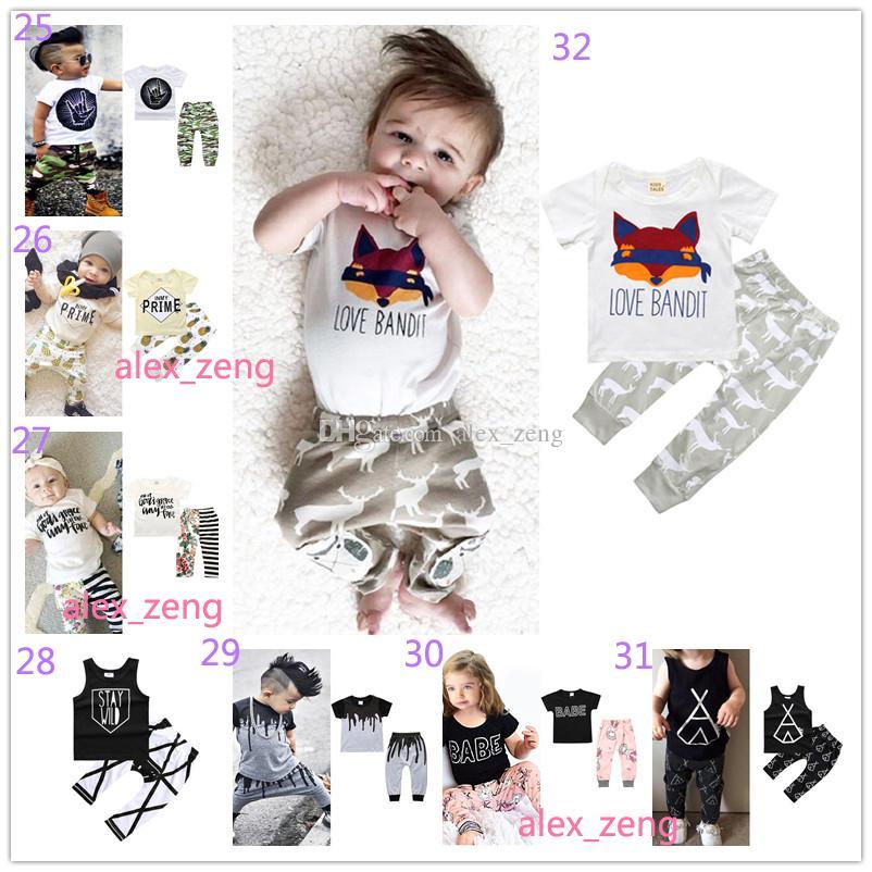 40 Estilo Do Bebê Meninos Meninas Define INS Fox Carta Carta Ternos Crianças Infantis Casual T-shirt de Manga Curta + Calças Conjuntos de Pijama Recém-nascidos