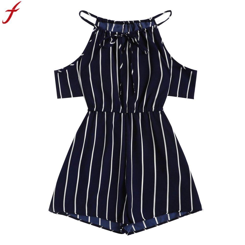 e3bfa0751d6a 2019 Jumpsuits For Women 2018 Summer Secy Off Shoulder Playsuit For Holiday  Ladies Cold Shoulder Stripe Short Jumpsuit Combinaison From Suspender