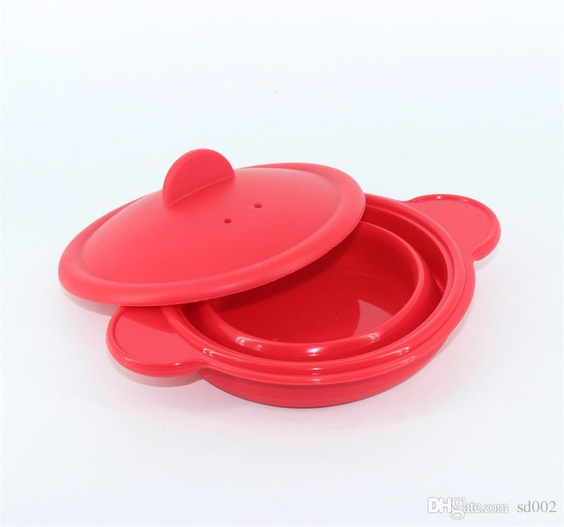 Silicone Folding Bowl Heat Resisting Microwave Oven Steamer Multi Function Dinnerware Bakeware Home Kitchen Cook Tool Red 3 3yb C