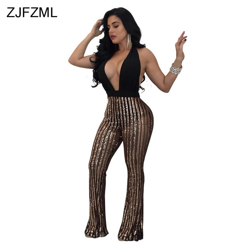 bc625afd4267 2019 ZJFZML Women Striped Jumpsuits Sexy Party Club Wide Leg Pants Sequin  Rompers Womens Jumpsuit Summer Halter Playsuits Female From Wangzi001