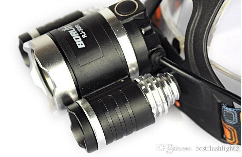 3T6 Headlamp 6000 Lumens 3 x Cree XM-L T6 Head Lamp High Power LED Headlamp Head Torch Lamp Flashlight Head +charger+car charger Free ship