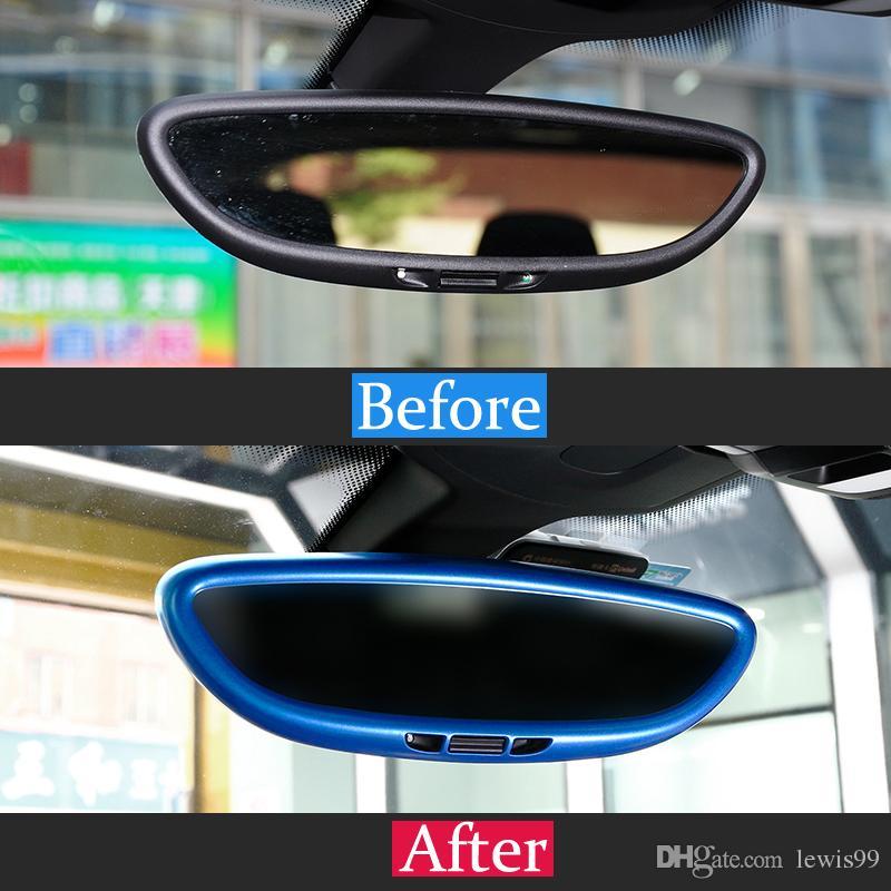 자동차 스타일링 내부 백미러 커버 프레임 장식 커버 트림 스트립 포르쉐 Cayenne Macan 용 3D 스티커 데칼 panamera accessories
