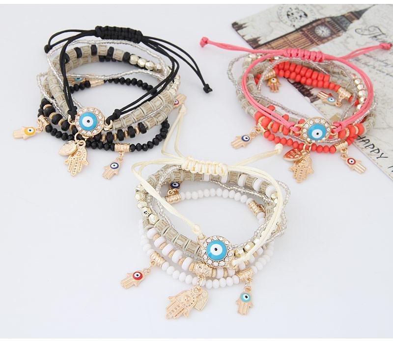 Kabbalah Fatima Hamsa Handschlechtes Augen-Charme-Armband-Armbänder Mehrschichtige Geflochtene Handgefertigte Perlen Pulseras für Frauen-Mann