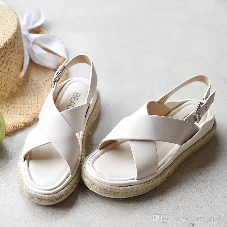 Europea 100De Y Sandalias Genuino Zapatos Grueso Mujeres Nuevo Cuero Plataforma Moda Nuevas Fondo Casuales 2018 eWE29YDHI