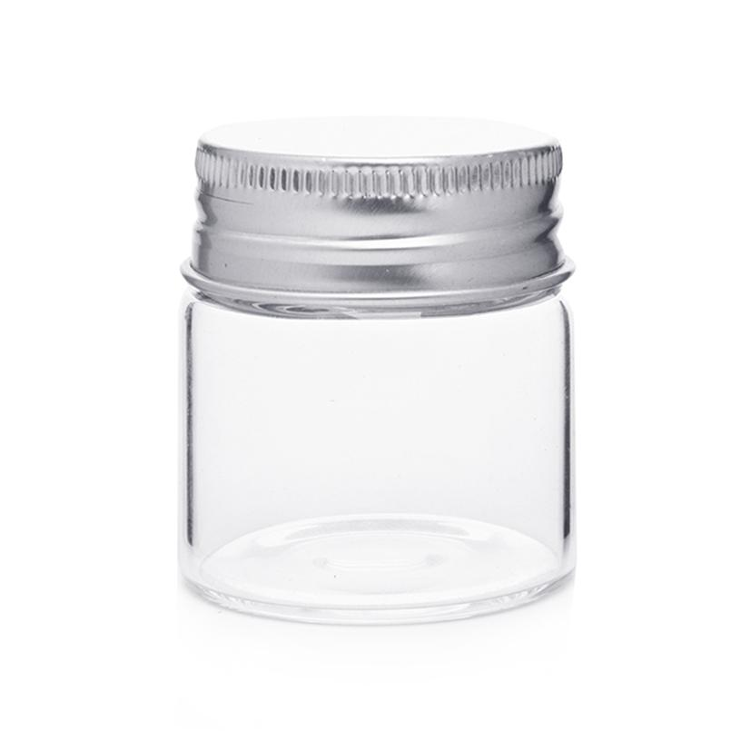 40 Decorative Glass Bottles Silver Cover Tiny Empty Storage Bottle New Decorative Glass Storage Jars
