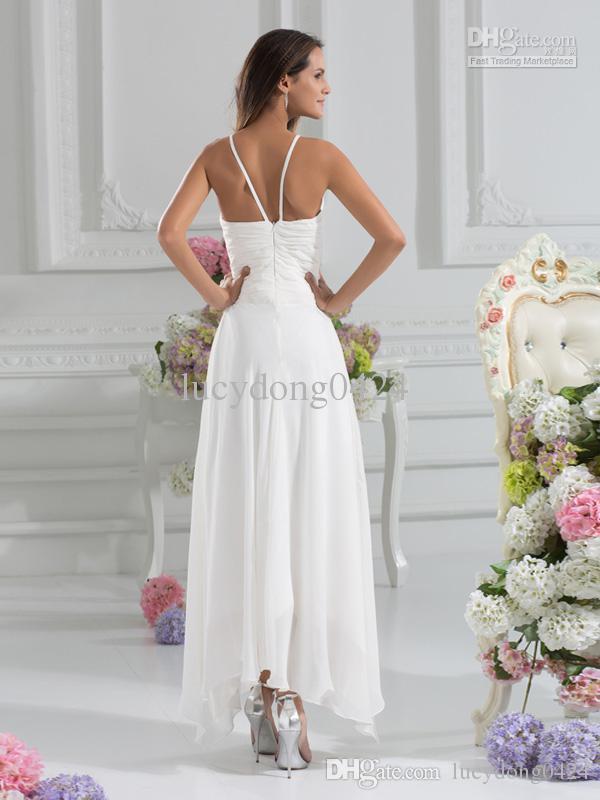 En Stock Summer Beach gasa una línea vestidos de novia Imperio cintura espaguetis gasa asimétrica más el tamaño vestidos de novia LD0015