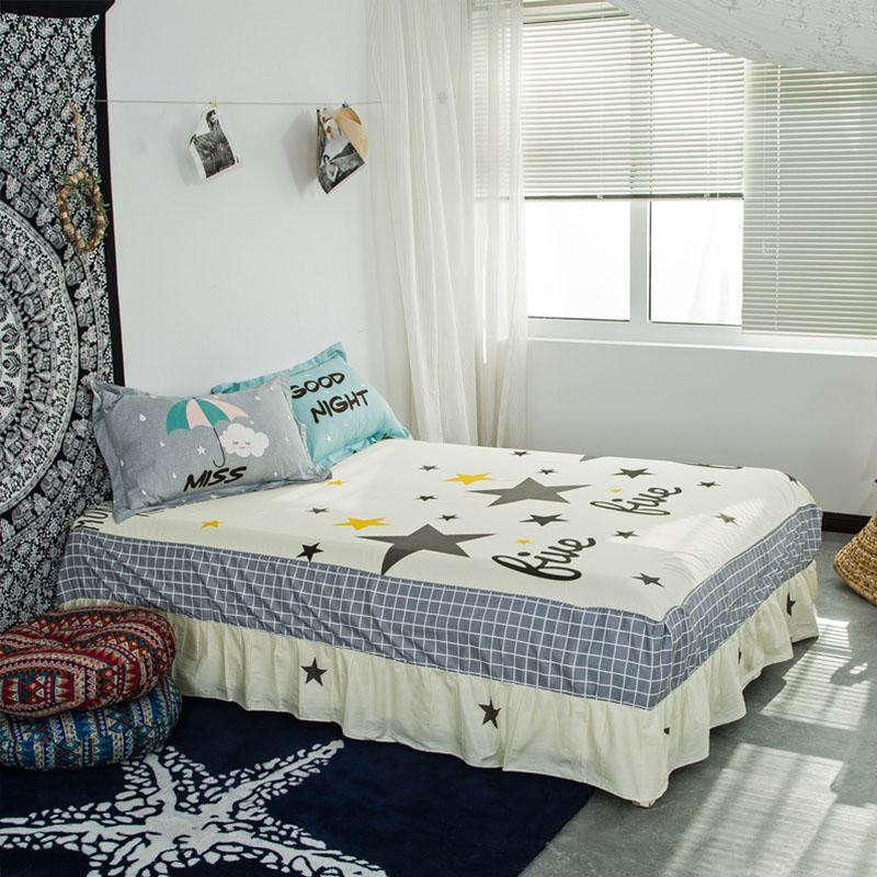 New Colorful Twin Bed Skirt 100% Cotton Bed Skirt Flat Fitted Sheet Bedding  Printed Sets Full Queen King Size Height45cm White Bedskirt 21 Inch  Bedskirt ...