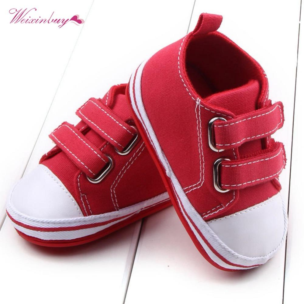 2019 Newborn Boys Girls First Walkers 2018 Canvas Baby Shoes Infant Toddler  Soft Bottom Anti Slip Prewalker Sneakers 0 12M From Jasmineer 26cf66eb241e