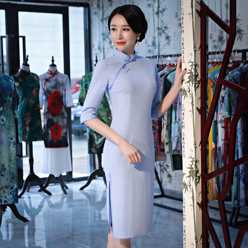 9846d3a2901959 2019 New Vintage Print Floral Traditional Chinese Women Dress Sexy Cotton  Qipao Lady Mandarin Collar Slim Cheongsam S 3XL From Pamele