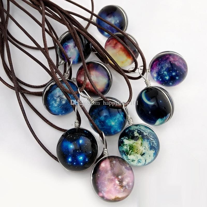 Fashion Starry Outer space Universe Gemstone necklaces Glow In The Dark Glass ball pendant necklace For women&men s Jewelry Mix Models