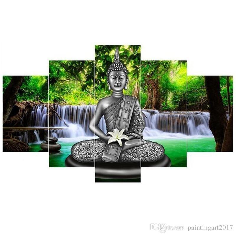 Китай бамбук тайский Будда статуя 5 шт холст настенная живопись искусство современные украшения дома HD печатных стены искусства картина живопись