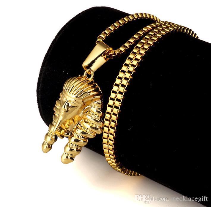 18k diamante vintage retrò uomini collane ciondoli faraone egiziano collana a catena festa in maschera compleanno gioielli in acciaio inossidabile