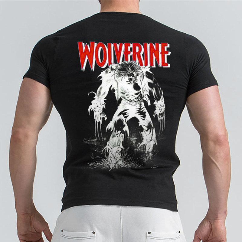 a14a108b0 Compre Maravilha Wolverine T Camisa Casual Impresso Manga Curta T Shirt Dos  Homens De Ginástica Workout Tee Algodão Roupas De Fitness Masculino  Crossfit ...