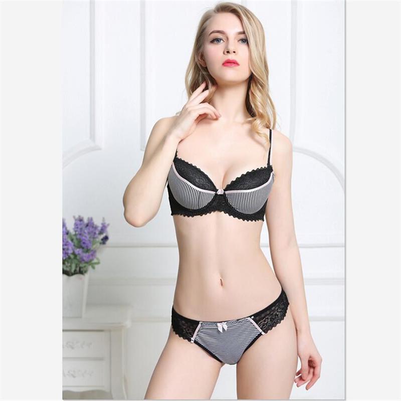 464e95dba Compre Sexy Lace Push UpBra Set Listrado Sutiã E Calcinha Conjunto Lingerie  Roupa Interior Plus Size Roupa Interior Das Mulheres De Harrvey