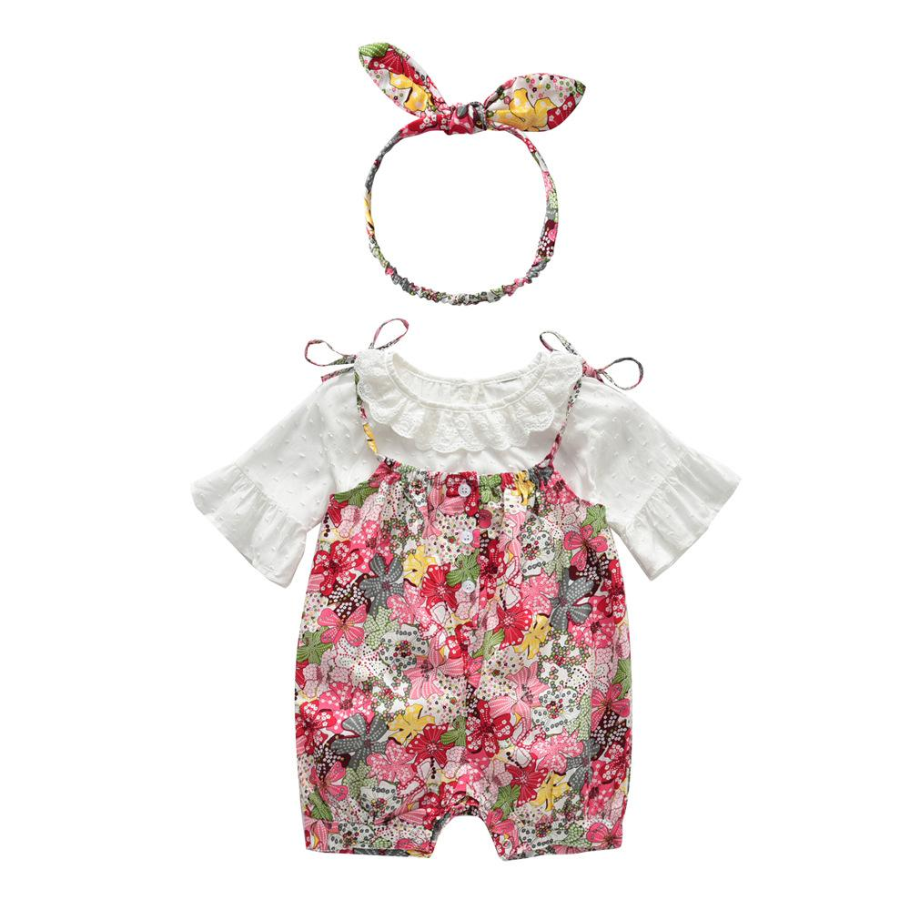 fc10ea882 2019 Summer Baby Girls Clothing Sets Cotton Floral Print Rompers ...