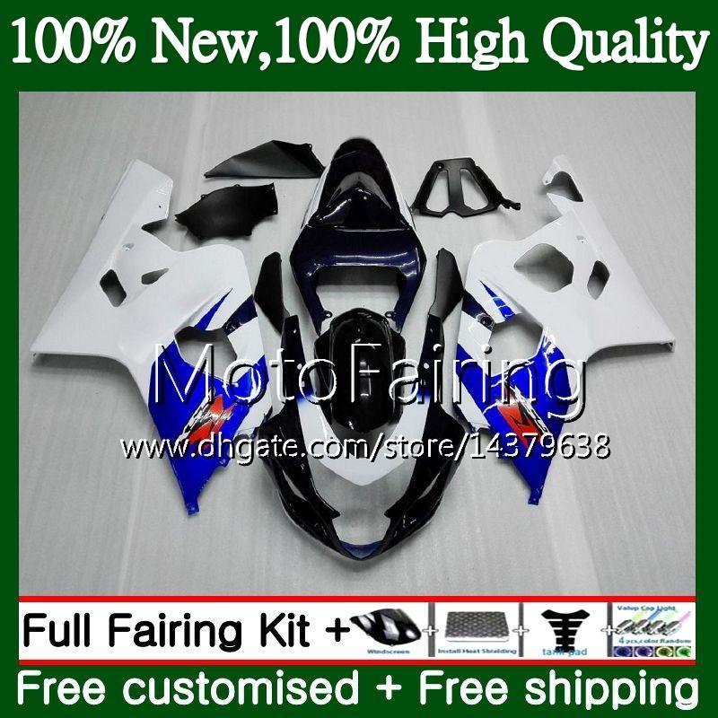 Cuerpo para SUZUKI GSXR 750 Azul blanco GSX R600 K4 GSXR 600 04 05 24MF4 GSX-R750 GSX-R600 GSXR750 04 05 GSXR600 2004 2005 Carenado Carrocería