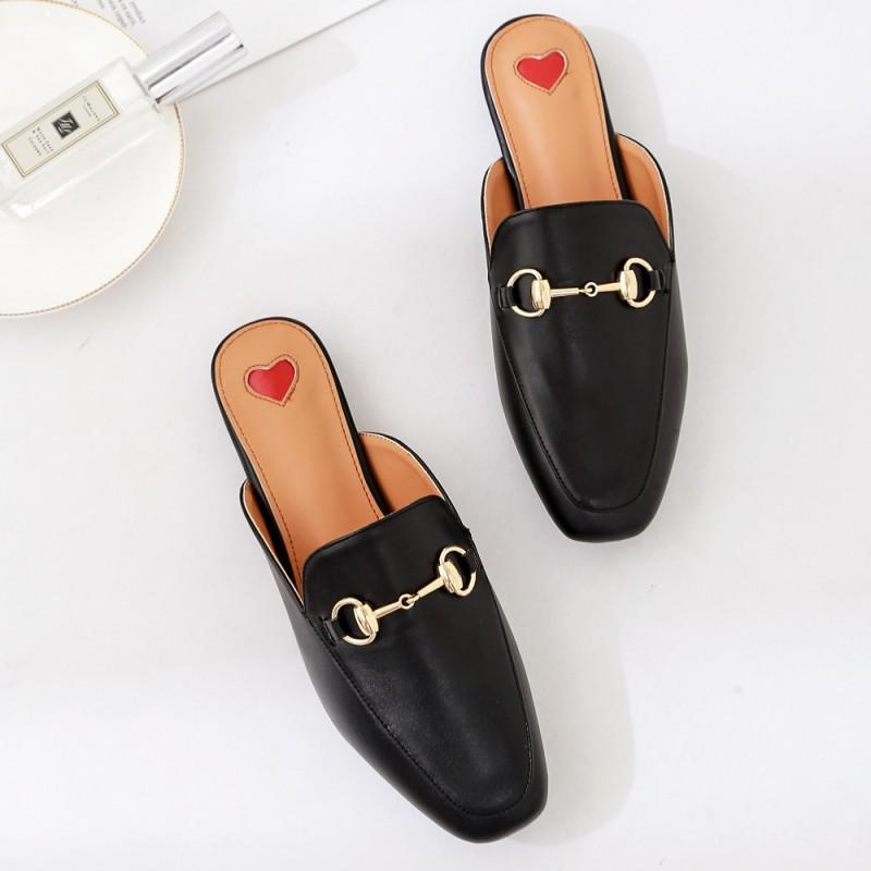 3213f4963ae8d1 2018 Spring And Summer New Metal Buckle Baotou Half Flat Sandals And ...