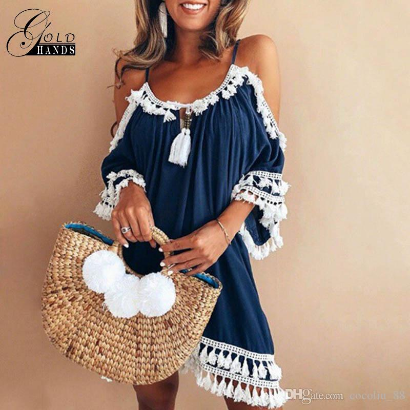 4830d23eb32b Gold Hands Summer Women Sexy Lace Tassel Casual Off Shoulder Strap Dress O  Neck Short Sleeve Vintage Mini Beach Party Dresses