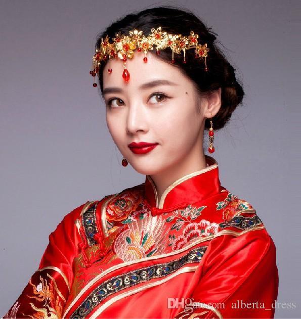 Jóia chinesa Estilo Tiara Headpieces Partido antiga nupcial do casamento Coroas Cabelo Moda Classic Acessórios Vintage Pageant Headband Crysta