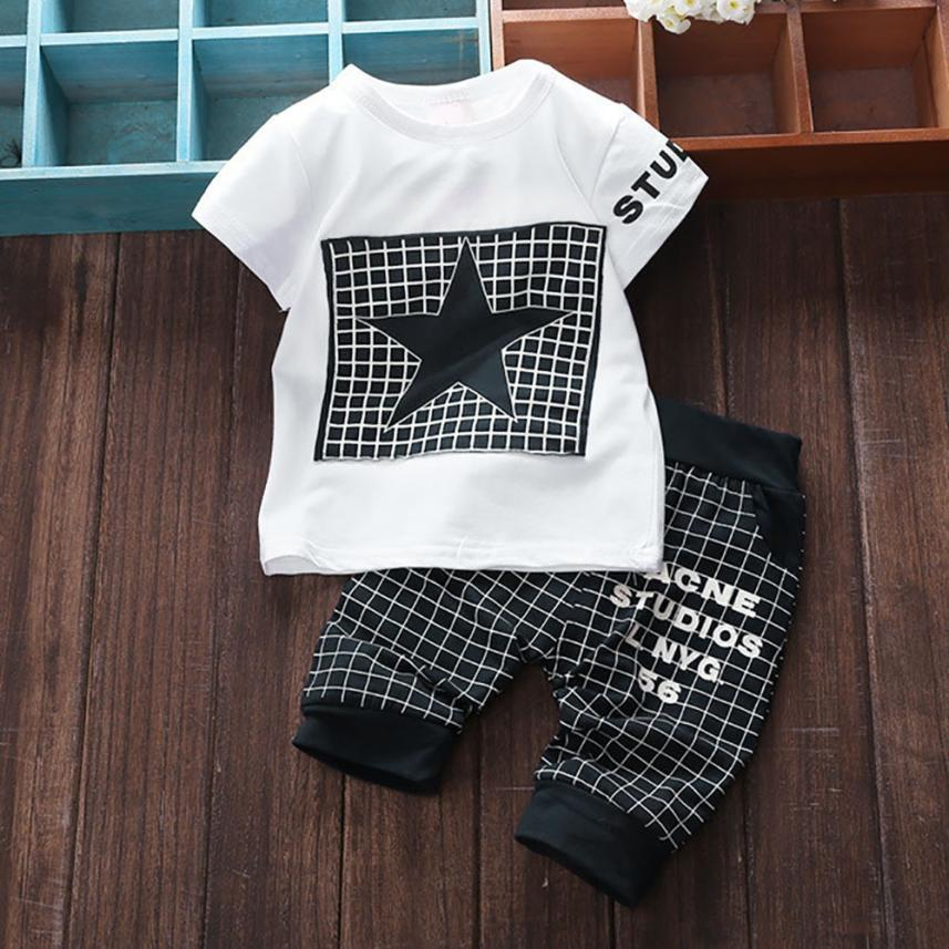 Baby & Toddler Clothing New Arrivels Baby Boy Letter Print Clothes Outfits Toddler T-shirt Top+plaid Clothing, Shoes & Accessories