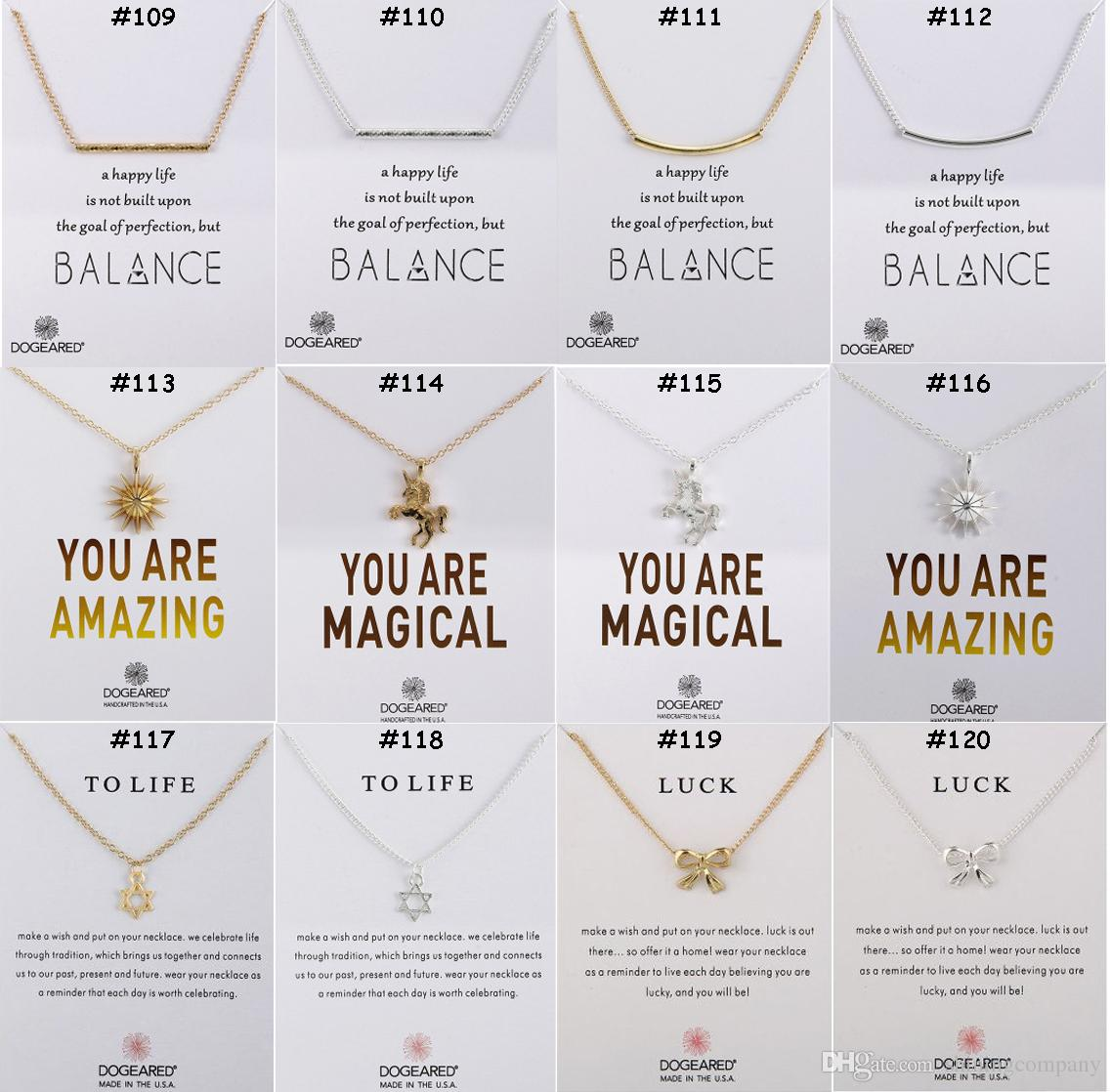 136 Designs Dogeared Jewelry Chokers Necklaces With Card Gold Silver Plated Pendant Necklace Little Gift for Friends Families Promotion Gift