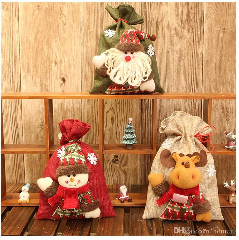 2 pcs/set Christmas decorations new stereo dolls burlap gift bags Christmas children's holiday candy bags chocolate bags