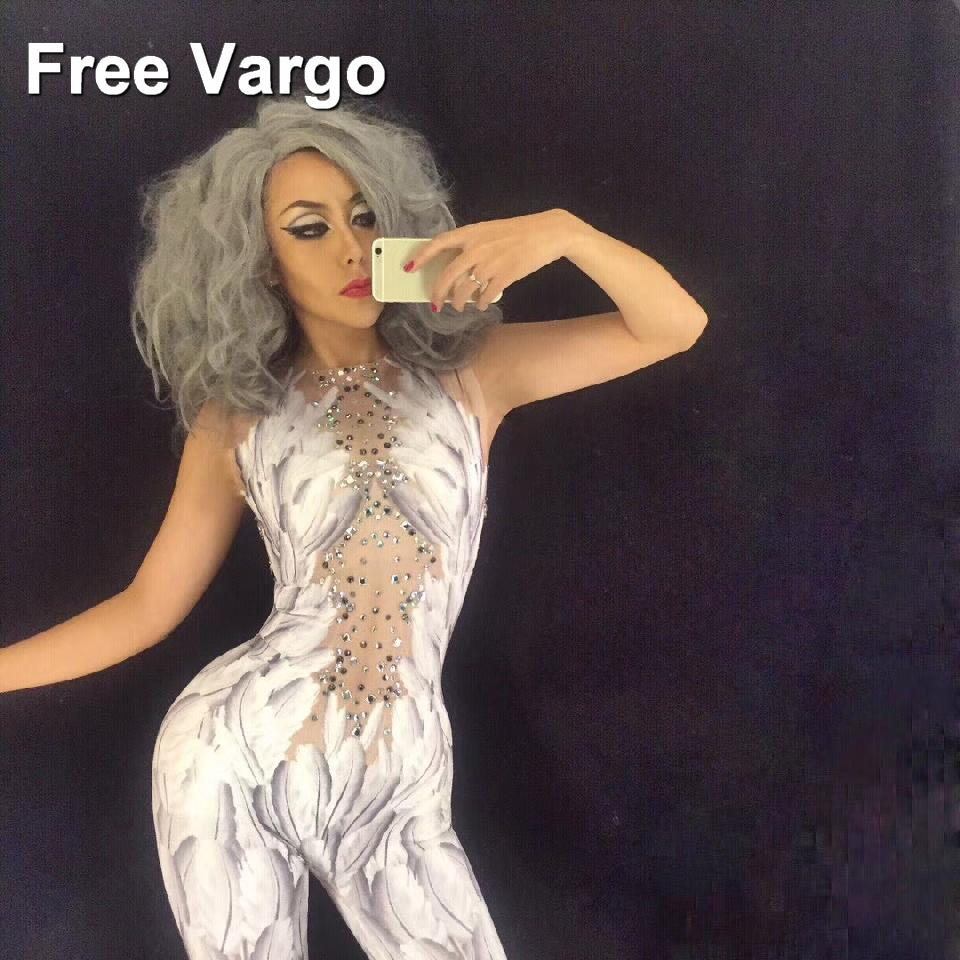 c5fffe156bc 2019 Sexy Crystals Angel Wings Jumpsuit White Feather 3D Printed Bodysuit  Nightclub Singer Dance Outfit Rhinestones Stage Rompers From Vikey10