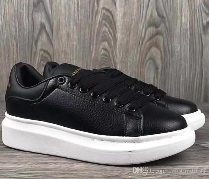 7543facd08 Compre Hombres Y Mujeres Qualityfashion Zapatos Casuales Negros Lace Up  Designer Comfort Zapatos Bonitos De Mujer Zapatos Casuales De Cuero Hombres  ...
