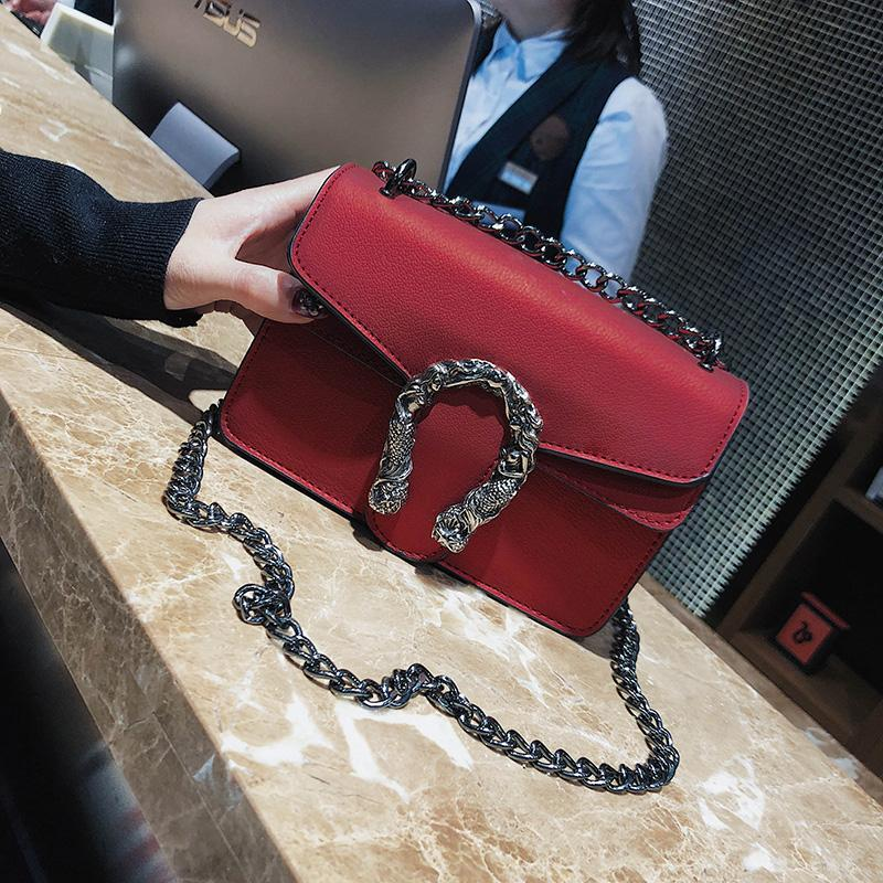 New Design Fashion Women Bags Girls Shoulder Bags Diagonal Quality Leather  Lady Handbags Vintage Chains Small Bag