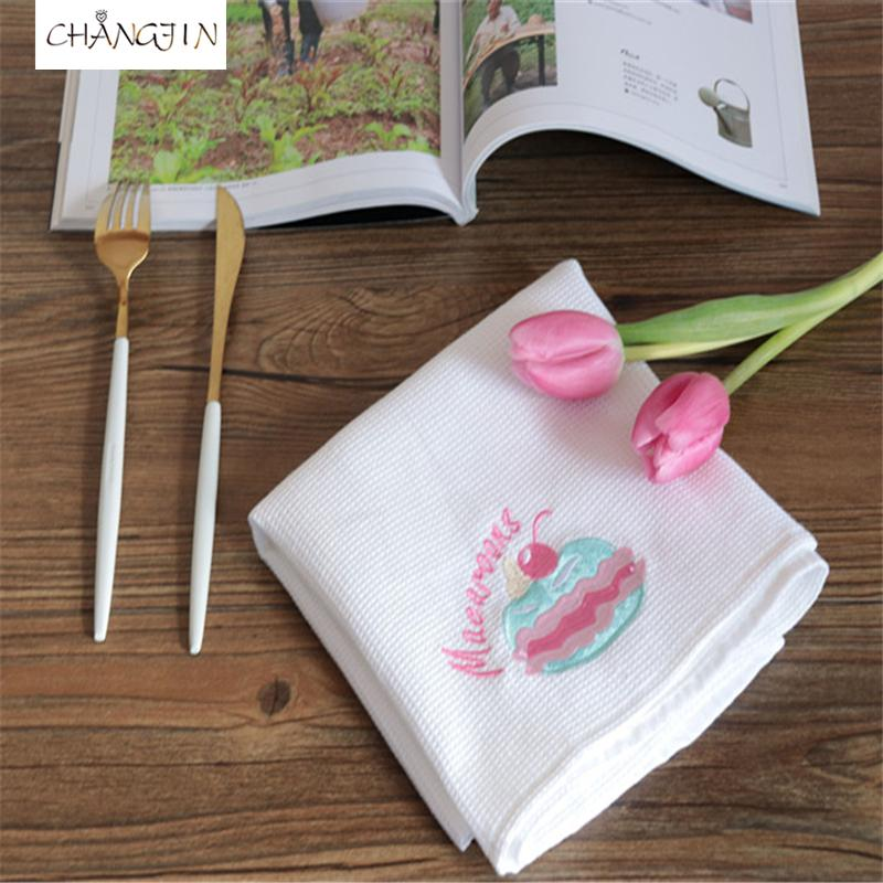 2pcs Pure white cotton embroidered western napkin, table mat, tea towel food photography background cloth