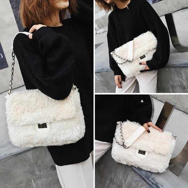 Winter Faux Fur Crossbody Bags Sling Messenger Bag Women Shoulder Mini Handbags Clutch Envelope Purse Bolsa