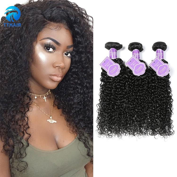 3 Bundles Kinky Curly Human Hair Weave Natural Color Top Quality