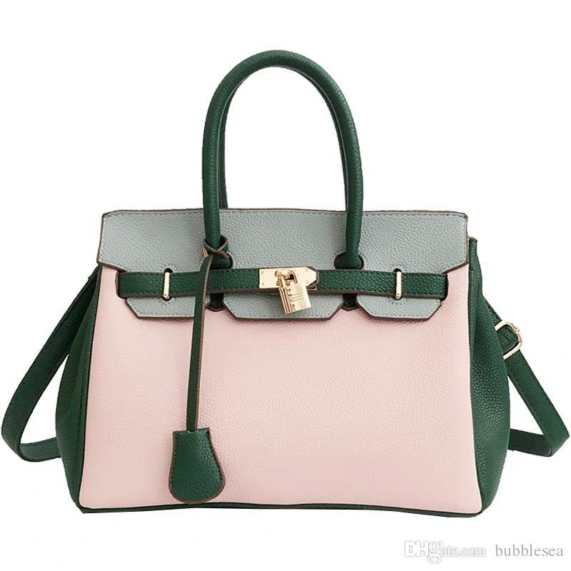 b600a0103c Europe And The United States Fashion Atmosphere Big Bag Female 2018 New  Wild Shoulder Messenger Bag Hit Color Platinum Handbag Red Handbags Pink  Handbags ...