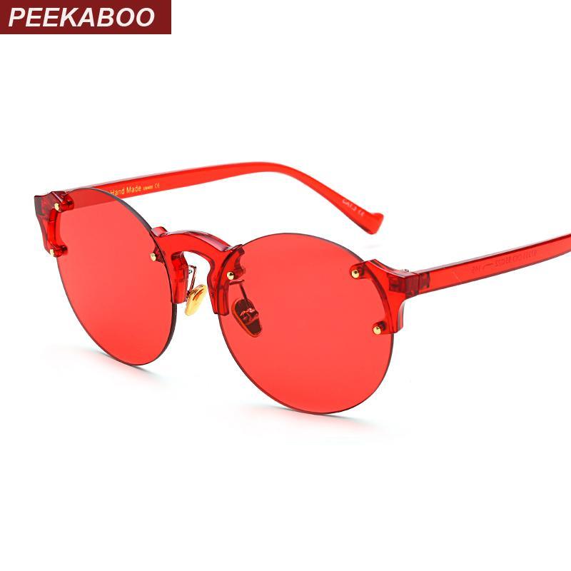 8ca47765b4937 Compre Peekaboo Sem Aro Claro Óculos De Sol Mulheres Cor Transparente Candy  Orange Amarelo Vermelho Moda Óculos De Sol Rodada Homens Uv400 De Wdrf, ...