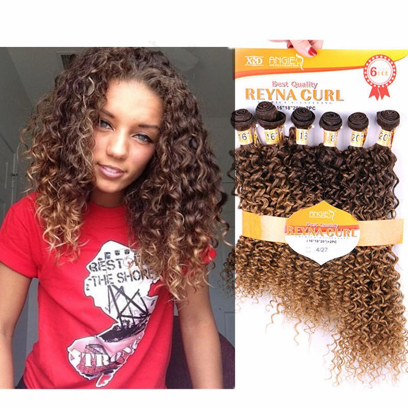 16 20INCHES Newest Blonde T4 27 Kinky Curly Hair Weave Afro Kinky Bulk  Synthetic Hair No Tangle Natural Curly Hair Extensions Womens Hair Clips  Hair Band ... 2e41f542d3