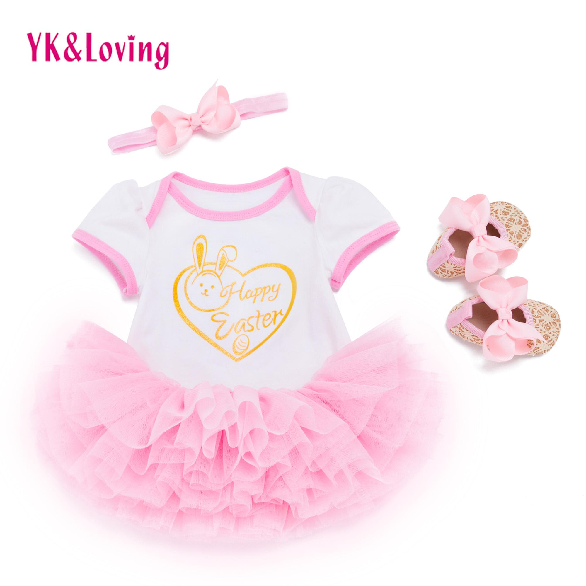 Baby Girl Clothes Pink Tutu Skirt Romper Shoes Suit Easter Infant